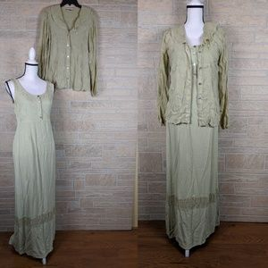Johnny Was Maxi Dress With Sheer Top Rayon